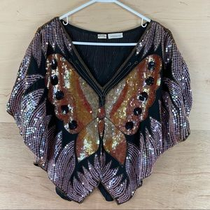 Vintage Sequined Butterfly Blouse